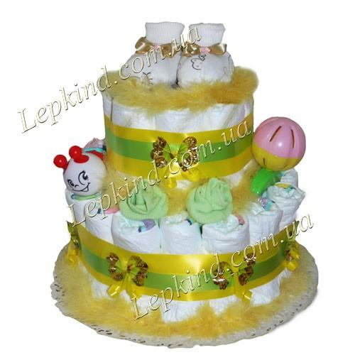 Торт из подгузников унисекс Нежные розочки купить в Запорожье, Херсон, Николаев, Украина