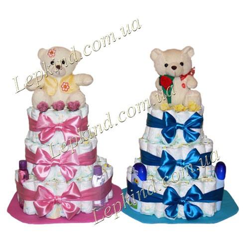 торт из памперсов для двойняшек Маша и Миша