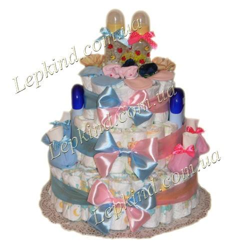 торт из памперсов для двойняшек Рассвет