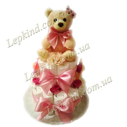 Торт подгузник для девочки Розовый мишка, купить в Луцк, Ровно, Житомир, Украина