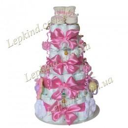 """Торт из памперсов 4х. этажный """"Розовая мечта"""""""