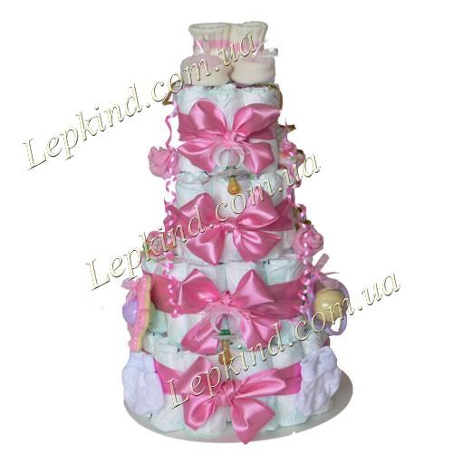 Подарки детям на день рождения -  сделать Торт из подгузников для девочки Розовая мечта