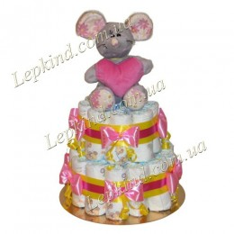 "Торт из памперсов 2х. этажный ""Мышка-норушка"""