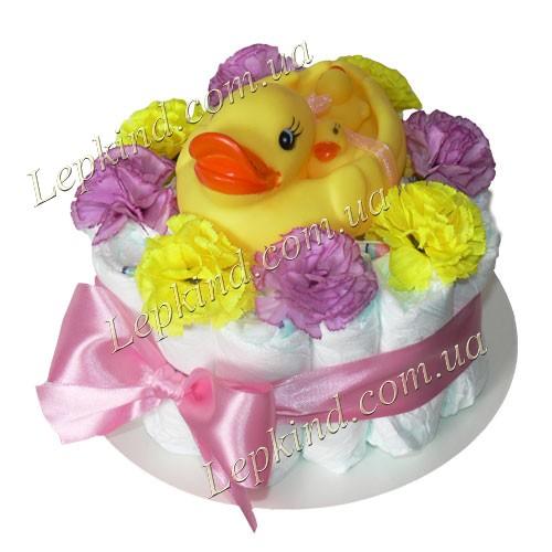 """Куплю торт из памперсов для девочки """"Утята в цветах"""""""