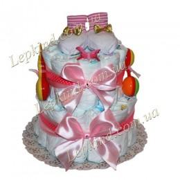 """Торт из подгузников 2х. этажный """"Розовый атлас"""""""