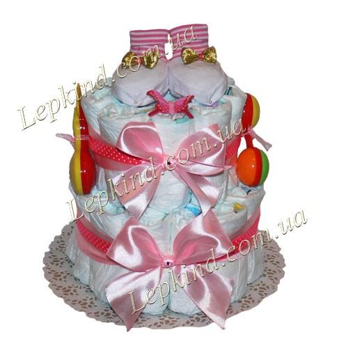 Торт из подгузников двухэтажный Розовый атлас купить в Днепропетровске, Кировоград, Черкассы, Украина
