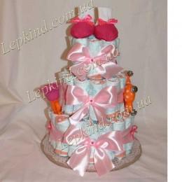 Торт подгузник 3х. ярусный для девочки