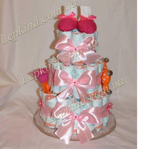 Подарок новорожденному девочке - сделать Торт из памперсов для девочки в три яруса