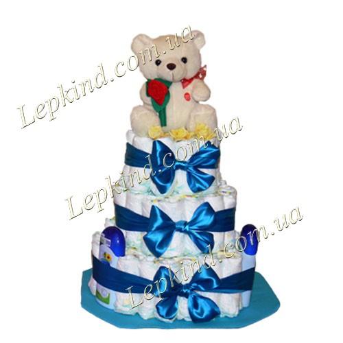 Подарок новорожденному - торт из памперсов Мишаня, купить в Киев, Житомир, Винница, Украина