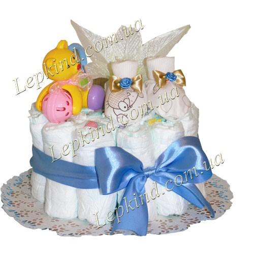 Торт из памперсов для мальчика Башмачки для принца купить Харьков,  Днепропетровск, Донецк, Украина