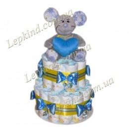 """Торт из подгузников 2х. этажный """"Мышка-норушка """" (голубая)"""