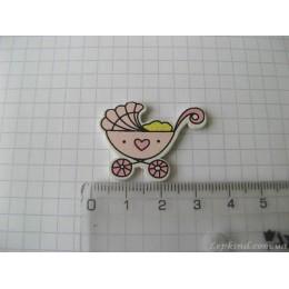 Коляска из дерева розовая-2