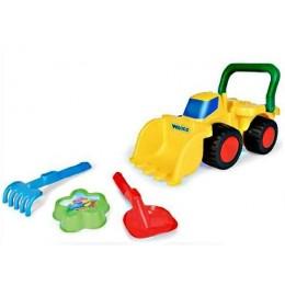 Бульдозер с игрушками для песка (пасочка, лопатка, грабельки), в сетке 40*17см TM Wader