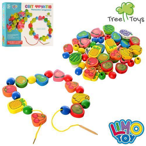 Деревянная игрушка Шнуровка, фрукты, овощи, ягоды, в кор. 28*21*3,5см (48шт)