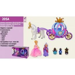 Карета с куклой, лошадью, звук, свет, на бат., в кор. 43*26*20 см (12 шт.)