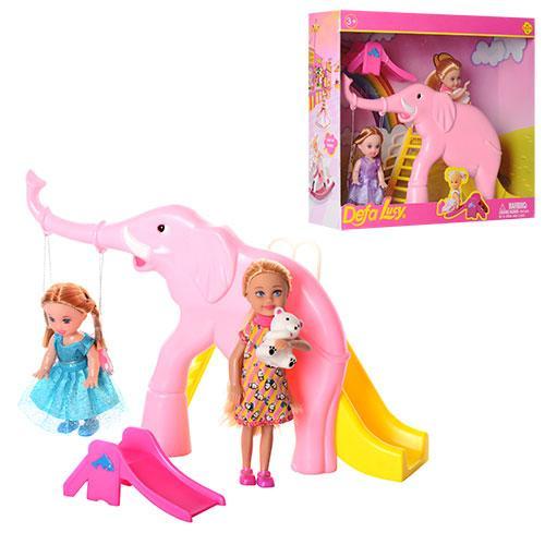 Кукла Defa 2шт (10см, 13см), горки 2шт, мишка, 2 вида, в кор. 28*24,5*8см (12шт)