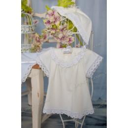 Платье СОЛНЦЕ белое + шапочка  р. 56, 62, 68, 74