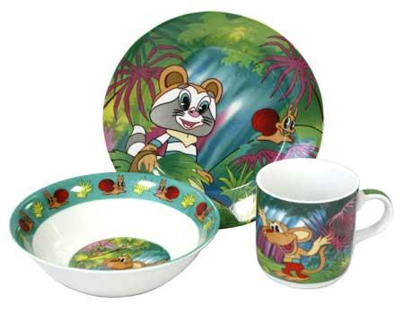 Детская посуда, фарфор, 3 предмета