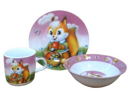 Посуда для детей, фарфор, 3 предмета