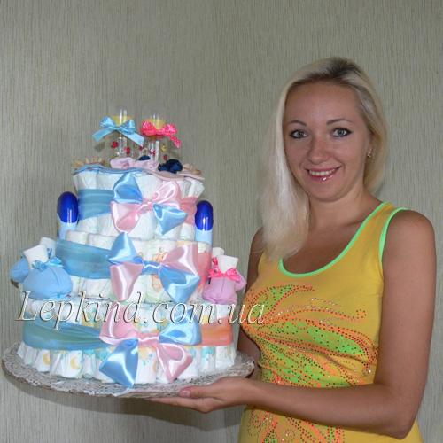Торт из памперсов для мальчика своими руками пошагово фото